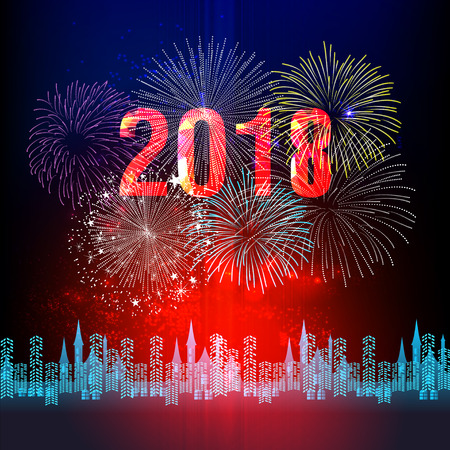 vector vector illustration of colorful fireworks happy new year 2018 theme