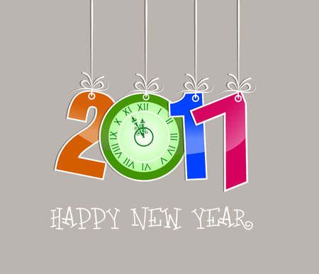 o'clock: 2017 Happy New Year Greetings Card with oclock