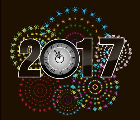 o'clock: 2017 Happy New Year Greetings Card with oclock and firework