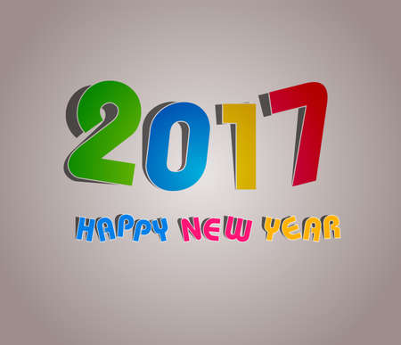 new years eve dinner: 2017 Happy New Year Greetings Card Illustration