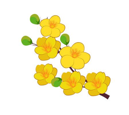 Yellow Apricot Bloem, traditionele maan nieuw jaar in Vietnam Vector Illustratie