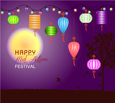 Mid Autumn Festival vector background with lantern