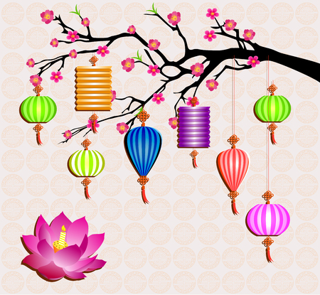 Mid Autumn Festival vector with lotus lantern and plum blossom