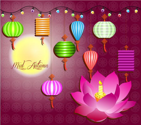 tanglung festival: Mid Autumn Festival vector with lotus lantern and plum blossom  color light