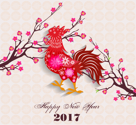 chinese new year element: Happy Chinese New Year 2017 of the Rooster - lunar -  with firecock and plum blossom Illustration