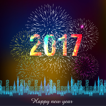fireworks display for happy new year 2017 above the city Illustration