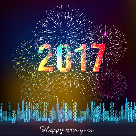 vuurwerk voor Gelukkig Nieuwjaar 2017 boven de stad