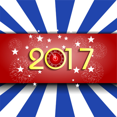 newyear: fireworks display for happy new year 2017 with clock Illustration
