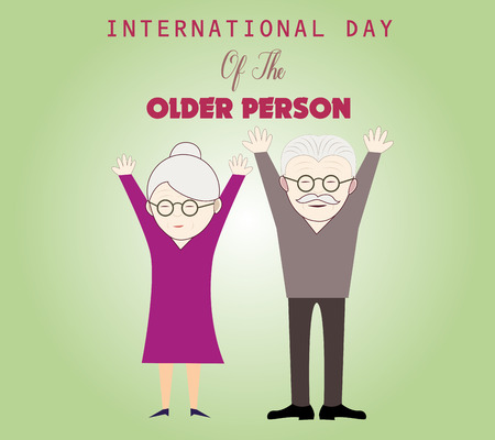 older couple: International day of the older person. Card template with cute grandma and grandpa. Couple of older people.
