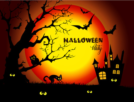 dead tree: Halloween night background with full Moon and black cat.