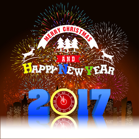 o'clock: Firework Display for Merry christmas and Happy new year 2017