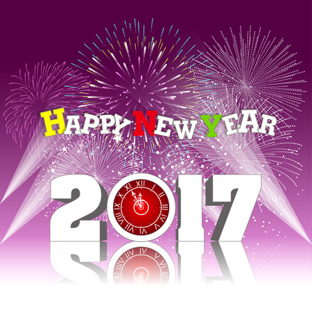 happy new years: Happy new year 2017 with Firework Illustration