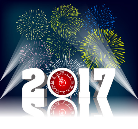 Happy new year 2017 with Firework Illustration
