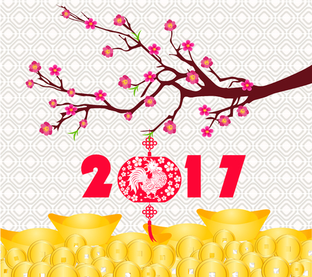 new years background: happy Chinese new year 2017 card is Gold coins money, lanterns