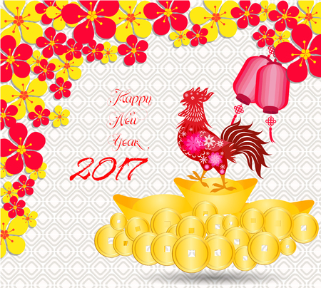 blossom background: happy Chinese new year 2017 card is Gold coins money, lanterns