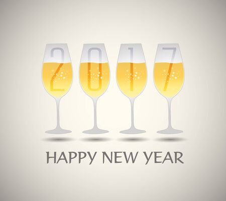 champagne glasses: Happy new year 2017 with champagne glasses