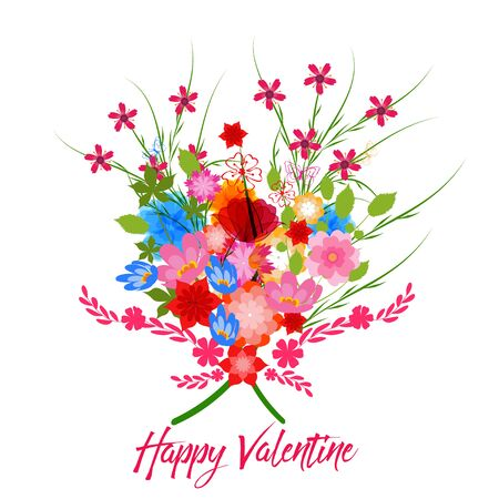 Happy valentine with  spring flowers