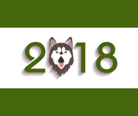 year: Happy new year 2018 year of dog.