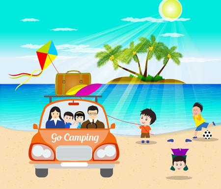 Hallo zomer gaan met de auto kamperen Stock Illustratie