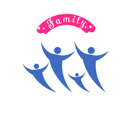 sitter: logo vector  happy family day. Illustration