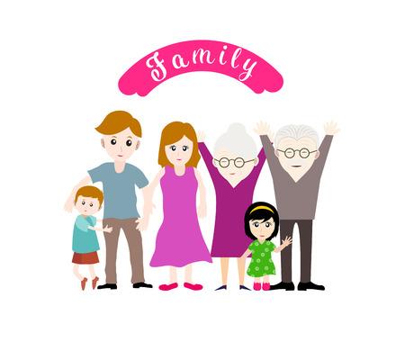 Illustration d'une grande famille heureuse sur fond blanc Vecteurs