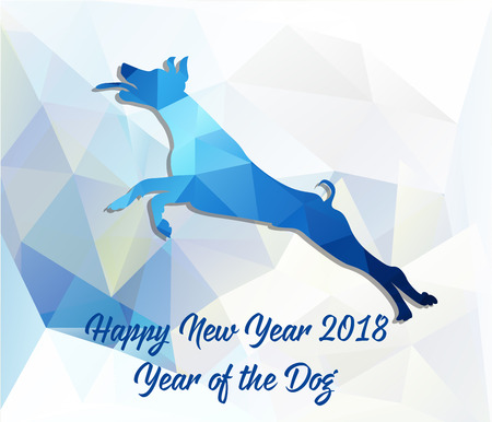Happy Chinese new year card 2018 year of dog.