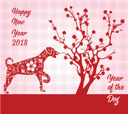 Happy Chinese new year card 2018 year of dog in red illustration.