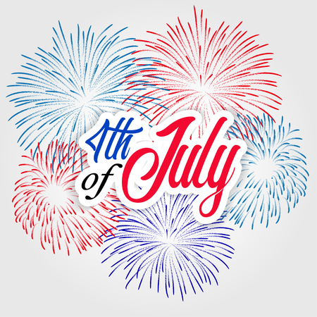 Fireworks background for USA Independence Day. Fourth of July celebrate Illustration