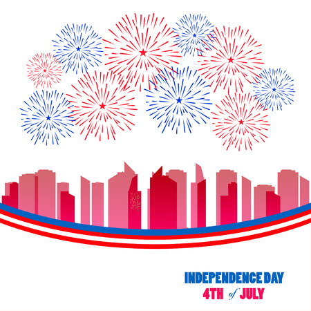 celebrities: Fireworks background for USA Independence Day. Fourth of July celebrate Illustration