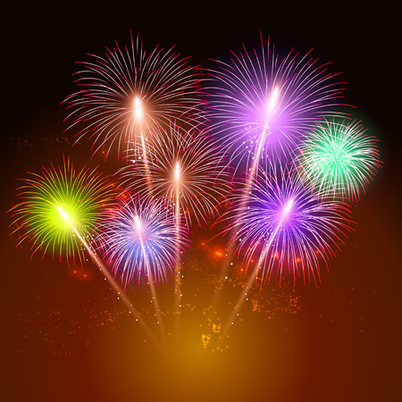 Colorful shiny realistic fireworks background for new year and 4th of july.