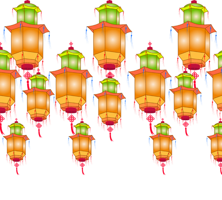 japanese ethnicity: Chinese paper lanterns for mid autumn festival on a white background