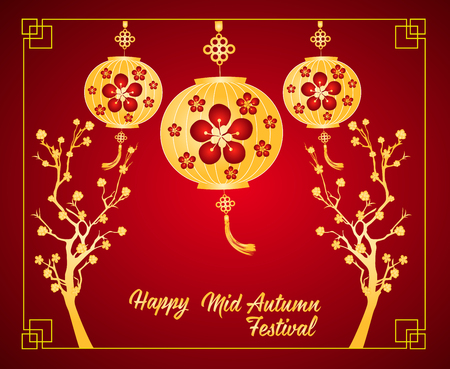 middle: Traditional background for traditions of Chinese Mid Autumn Festival or Lantern Festival