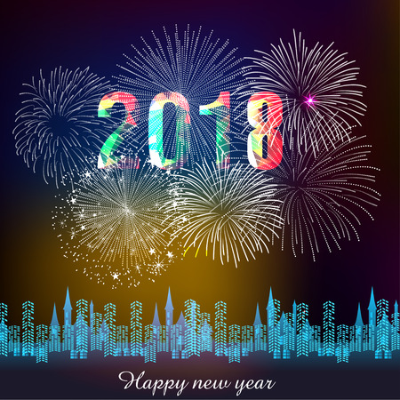 Happy new year 2018 with fireworks with silhouette of city skyline