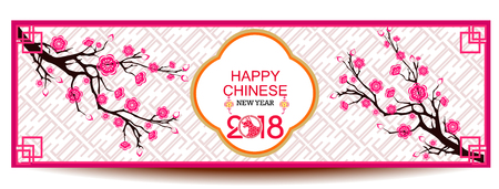 earthenware: Set Banners with Chinese New Year , Blossom cherry Flowers,