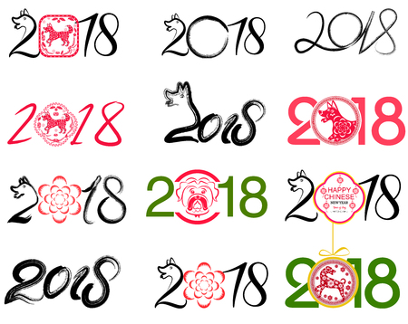 chinese astrology: Set of Chinese Zodiac Dogs on white background. Symbol of Chinese New Year 2018. Vector illustration.