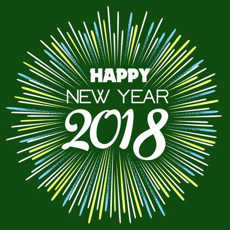 Feliz año nuevo 2018 con texto de tipografía sobre fondo de fuegos artificiales