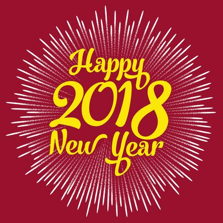 Happy new year 2018 with typography text on firework background