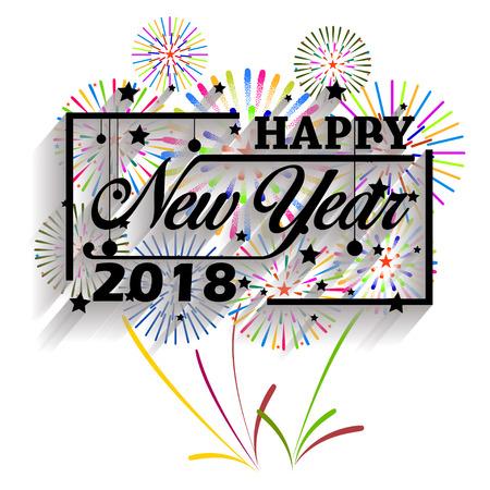 Feliz año nuevo 2018. Navidad. Tipografía de caligrafía de mano y fuegos artificiales.