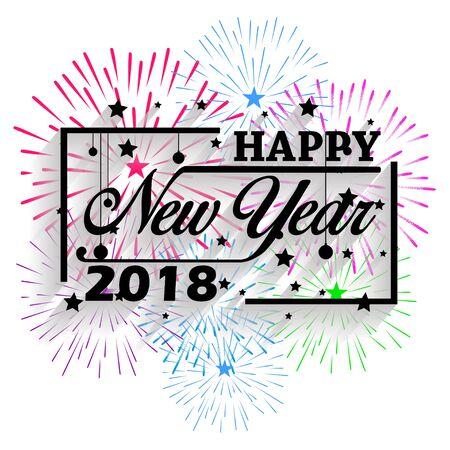 Gelukkig Nieuwjaar 2018. Kerstmis. Hand kalligrafie typografie en vuurwerk.