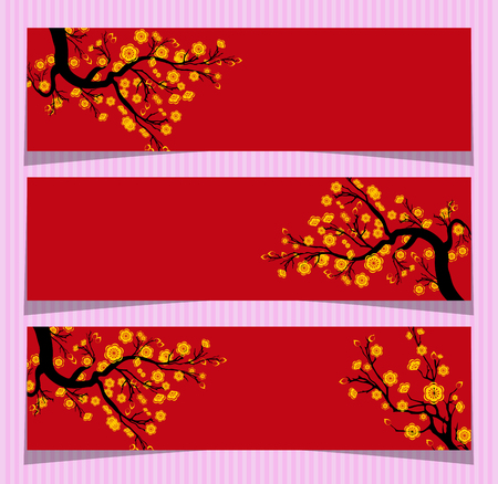 Vector Cherry blossom for Chinese New Year and lunar new year