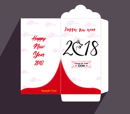Chinese New Year red envelope flat icon, year of the dog 2018 Illustration