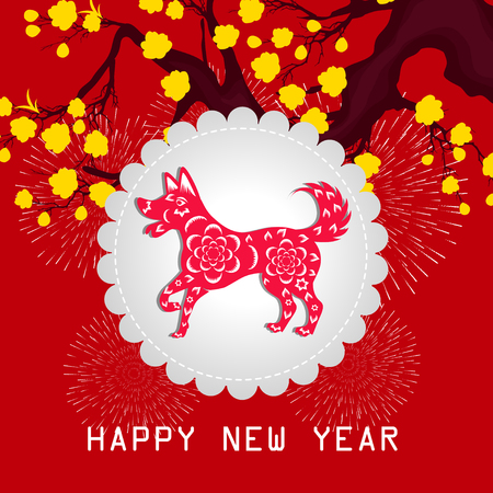 Happy Chinese New Year 2018 year of the dog card design.
