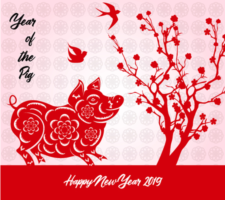 Happy Chinese New Year 2019 year of the pig. Lunar new year Vector illustration.