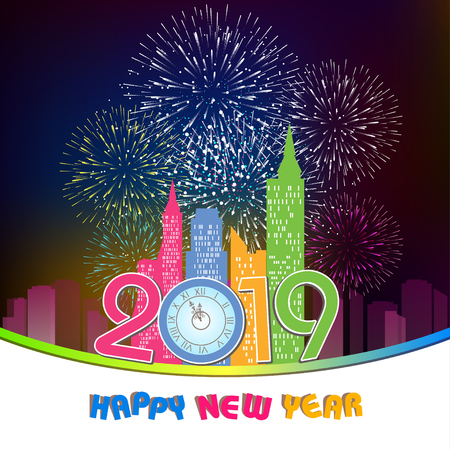 Firework displayed for Happy New year 2019 and holidays concept