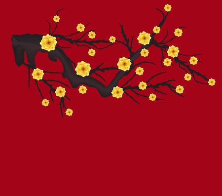 旧正月と中秋祭りのベクター桜