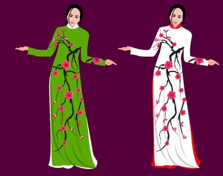 Vector Cherry blossom on long dress for happy chinese new year