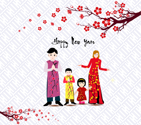 Happy  Chinese New Year with happy family and long dress. Banque d'images - 105785535