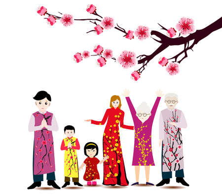 Happy  Chinese New Year with happy family and long dress.