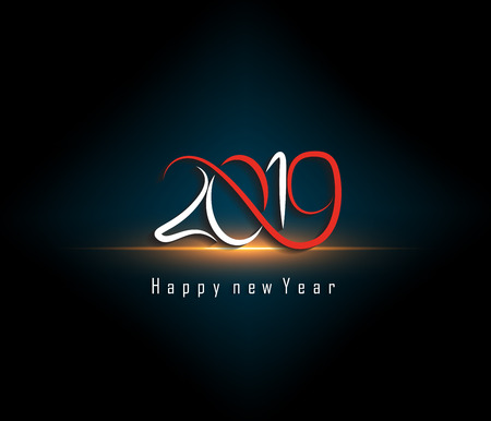 2019 Happy New Year greeting card. Vector design template. 免版税图像 - 108379901