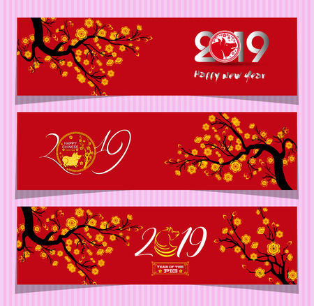 Set Banners for Chinese New Year of the pig 2019 Ilustrace